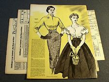 GERMAN FASHION & SEWING PATTERN MAGAZINE 1955 - Vintage 1950s 50s BLOUSES SKIRTS