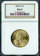 2003-D SACAGAWEA DOLLAR NGC MS67 2ND FINEST REGISTRY   *