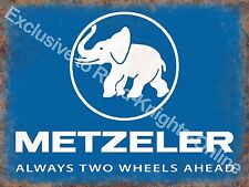 Vintage Garage Metzeler Tyres Motorcycle Motorbike Wheels, Small Metal Tin Sign
