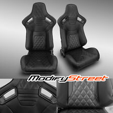 2 x BLACK PVC LEATHER/BLACK STITCH LEFT/RIGHT RACING BUCKET SEATS