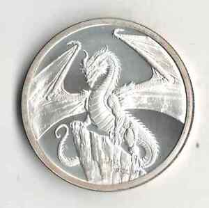 ONE OUNCE 999 FINE SILVER ROUND WORLD OF DRAGONS THE WELSH