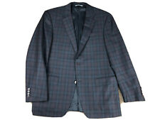 Canali Current Silver Label Deep Maroon & Gray Plaid 2 Button Blazer Size 42R