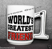BIG MOUTH TOYS WORLD'S GREATEST FRIEND MUG CERAMIC NEW CUP CUTE BIRTHDAY GIFT