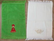 2 VINTAGE 1970's CHRISTMAS HAND TOWELS BRIGHT GREEN RED ANGEL USED & CREAM NEW