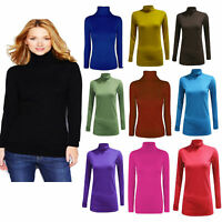 Ladies Womens Polo Neck Top Stretch Long Sleeve Turtle Neck Top Jumper (UK 8-26)