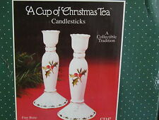 Cup of Christmas Tea Candlestick Pair Waldman Ct147