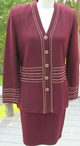 St John Collection Santana knit skirt suit. Eggplant with gold accents. Sz 8, 6.