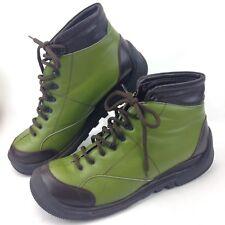Materia Prima Goffredo Fantini Green Lace Up Fashion Ankle Boots Women Sz 9 Rare