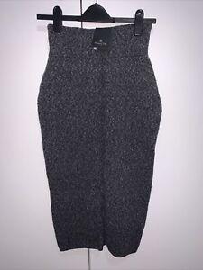 Bnwt Massimo Dutti Grey Wool Cotton Blend Knitted Midi Skirt Size Xs 6-8