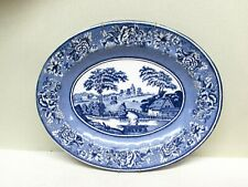 Daher England Blue and White Tin Metal Plate Oval House Boat Water Scene