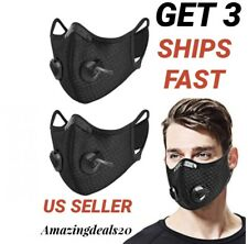 3PCS Sport Cycling Face Mask With Active Carbon Filter Breathing Valves Washable