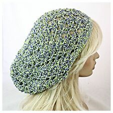 NEW Women's Crochet SLOUCHY Baggie BEANIE Hat Purple Lime WITCHES SPARKLE Multi