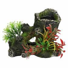 Aquatic Aquarium Hollow Stump with Plants Fish Tank Ornament 15x9x11cm