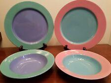 4pc Lindt Stymiest Colorways (2) Dinner Plates (2) Soup Bowls Excellent Minty