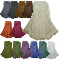 Peasant Boho Hippie Gypsy Crochet Tie Waist Cotton Skirt - NG7X (pick colour)