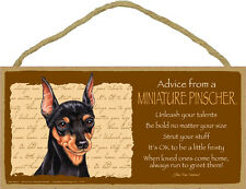 Advice from a Miniature Pinscher 5 X10 hanging Wood Sign made in the Usa