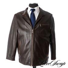 ICONIC Harley Davidson Brown Leather Cafe Racer Motorcycle Jacket Coat 3XL XXXL