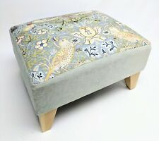 Footstool pouffe William Morris Slate Strawberry thief Light Wood British made