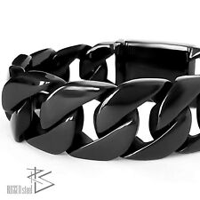 XXL Armband Edelstahl Armkette Panzerarmband massiv 165 g glänzend schwarz