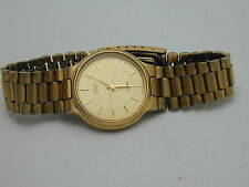 CITIZEN MANS GOLD TONE ALARM WRIST WATCH & ORIGINAL BAND WORKS GREAT AT 37 BY 34