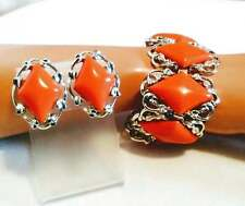 "Vintage Coro Orange Lucite Diamonds Bracelet & Earrings Set 7"""