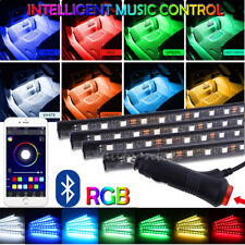 4x Interior Atmosphere Strip 12 LED Light kit RGB Voice Control Foot 7Color APP