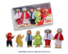 NEW Wooden Doll House Family of 6 - Poseable Dolls - great for pretend play