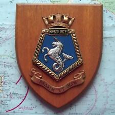 Vintage RFA Resource HMS Painted Royal Navy Ship Badge Crest Shield Plaque B