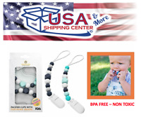 Pacifier Clip - 2 Pack Set - Teething Baby Silicone Beads Teal/Gray Child Kid