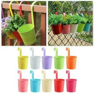 10x Garden Metal Flower Pots Wall Hanging Tin Basket Bucket Plant Herb Planter
