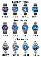 Sonic the Hedgehog 2 Sega Nintendo Wii Games Unisex Leather Steel Wrist Watch