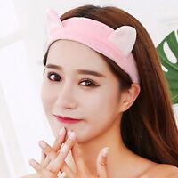 FJ- Cartoon Cat Ears Soft Elastic Women Hairband Face Washing Makeup Headband