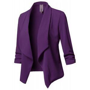 Plus Size Women Lapel Half Sleeve Cropped Suit Jacket Ladies Casual Coat Outwear