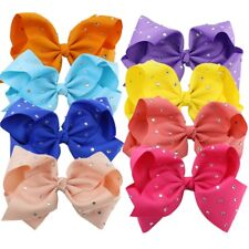 8 inch Girl Baby Crystal Rainbow Bows Hair Clip Large Rib Grosgrain Bow Hairpin