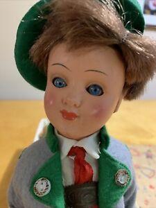 """VTG Gura Bavarian Boy German Doll Celluloid 13"""" Traditional Clothing Box TB200"""