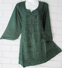MEDIEVAL GYPSY FOREST  GREEN EMBROIDERED TUNIC TOP 14 16 18     118CM