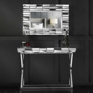 Silver Wall Mirror Mirrored Console Glass Living Room Furniture