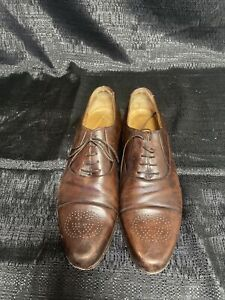vintage Gucci man shoes GG with shoelace Brown leather Made In Italy Size 9