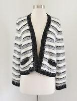 Calvin Klein Black White Striped Open Front Fuzzy Cardigan Sweater Size L