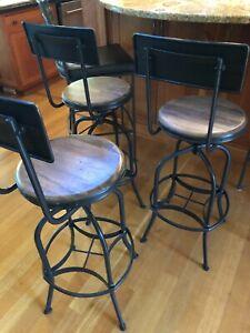 SOLD -4 Rustic, Ballard Design, wooden seat, Bar Stools w/ gun metal base & back
