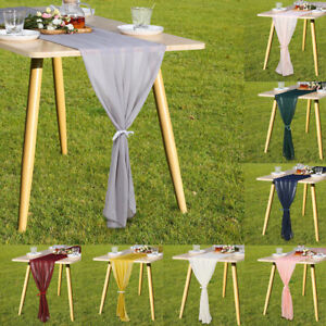 Modern Table Runner European Style Soft Chiffon Dinning Room Solid Home Decor