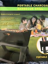 Portable charcoal barbecue grill triangular camping boating outdoor and spatula