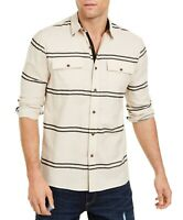 Sun + Stone Mens Shirt Beige Size XL Striped Button-Down Pocket-Front $45 #205