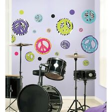 ZEBRA PRINT PEACE SIGNS & POLKA DOTS WALL DECALS 26 New Girls Dots Stickers