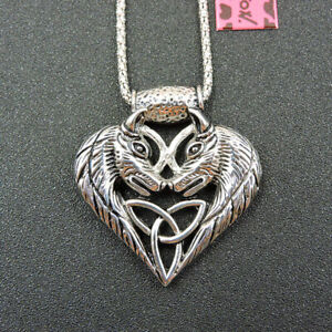 Fashion Betsey Johnson Silver Alloy Wolf Animal Pendant Chain Necklace