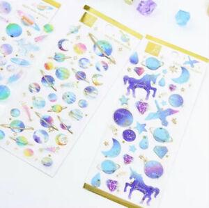 Glitter Epoxy Crystal Stickers Unicorn Constellation Galaxy One sheet ST407