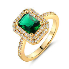 6*8mm Rectangle Green Sapphire Emerald 18K Gold Filled Women Lady Wedding Rings