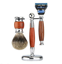 """3in1 Shaving Brush and Razor Stand Holder 6.1"""" Alloy with Solid Rosewood Design"""