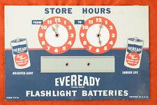 Eveready Flashlight Batteries Shop Store Hours Sign Cardboard Metal Vintage(D4L)