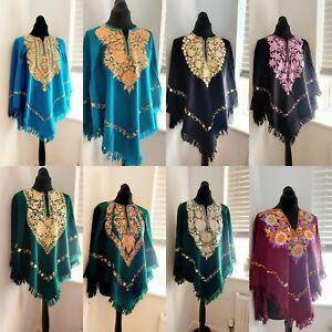 Designer Boho Style Kashmiri Embroidered Pakistani Handmade Wrap Poncho shawl